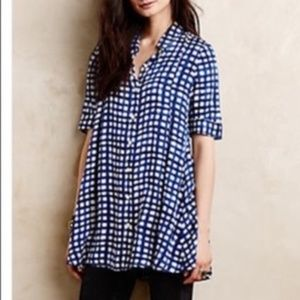 Anthropologie 11.1 TYLHO Adanne Gingha Button Top